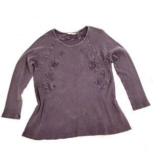 Soft Surroundings Purple Waffle Burnout Shirt